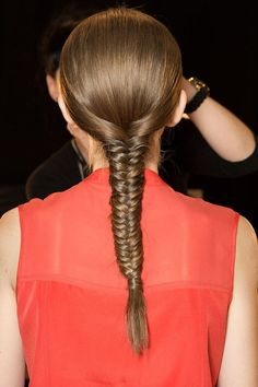 A stunning #fishtail #braid to copy from Tome's Spring 2015 #NYFW show!