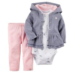 Carters Newborn 3 6 9 12 Months Cardigan Pants Set Baby Girl Clothes Cotton #Carters #Everyday