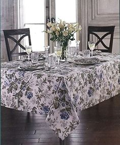 Waterford Table Linens Jade Blue Tablecloths Assorted Sizes Rectangle 100