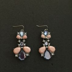 Statement Earrings Pink and Purple Pastel Stones with Rhinestones and Mini Faux Pearls in a Silver Setting. Brand New Never Worn! Jewelry Earrings