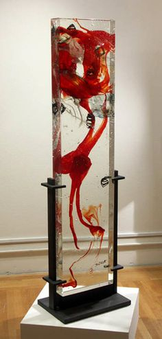 "David Ruth Raiatea glass and steel 75"" x 18"