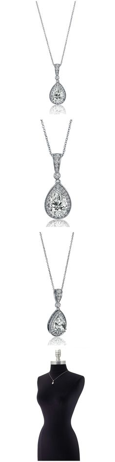 Sterling Silver Pear CZ Halo Fashion Necklace