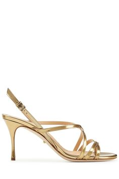 GABRIELLE'S AMAZING FANTASY CLOSET   Sergio Rossi   Leather Mid Heel Sandals - Gold  