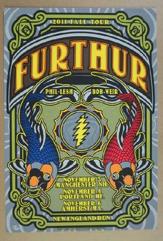 Original silkscreen concert poster for Furthur and their New England run in 2012. 15 x 22 inches. Numbered 275/450 by the artist Jeff Miller.
