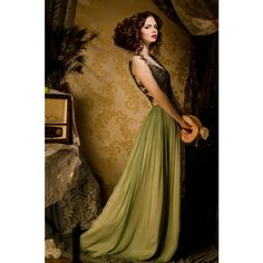 Glamour Fairy Tales- The Green Dress ❤ liked on Polyvore featuring dresses