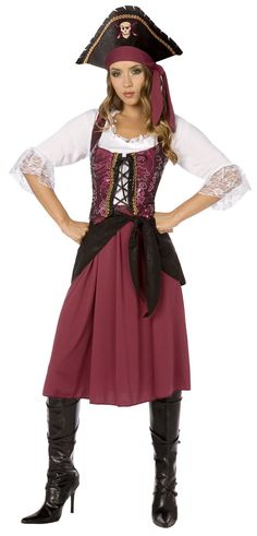 burgundy pirate wench adult womens costume includes dress waist sash lace up bodice and hat does not include boots - Pirate Halloween Costume For Women