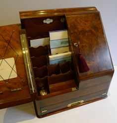 Victorian Writing lap desks    ... / Writing Box In Burr Walnut c.1890 - Writing Slope / Lap Desk