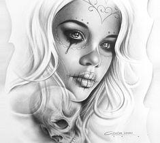 Muerte tattoo design drawing by Charles Laveso from Brazil Skull Girl Tattoo, Girl Face Tattoo, Sugar Skull Tattoos, Tatoo Art, Chicano Tattoos, Kunst Tattoos, Chicano Drawings, La Muerte Tattoo, Catrina Tattoo