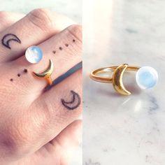 Opal gold Mond Ring Opalit Boho Ring von SupremeElixir auf Etsy