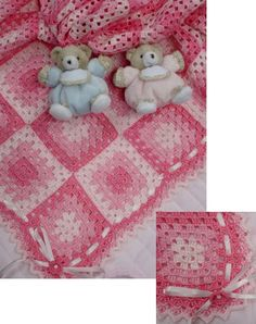 Pink and White Granny Square Baby Blanket free crochet graph pattern