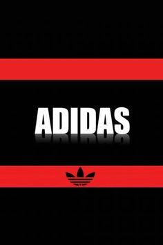 Adidas Logo Black & Red Background iPhone Wallpaper Download