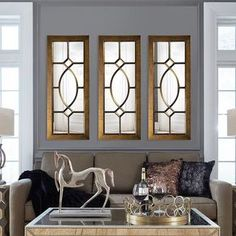 53 in. x 21 in. Traditional Framed Mirror 60108 - The Home Depot Modern Contemporary Living Room, Mid Century Modern Living Room, Living Room Modern, Living Rooms, Rustic Contemporary, Midcentury Modern, Window Grill Design Modern, Grill Door Design, Window Design