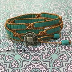 Love turquoise? This hand-crafted, four-wrap bracelet combines copper leather and turquoise tila beads for a fantastic look. I have finished the bracelet with an antique silver colored button in a native design and two small turquoise tube beads on the tie ends. The length is 28