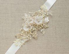 Robe de mariée robe ceinture Champagne ceinture Floral robe