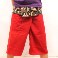 camouflage  on waist and hot red Cotton Thai by meatballtheory, $15.00