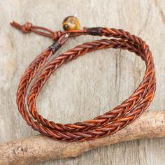 Men's tiger's eye and leather wrap bracelet, 'Double Cinnamon' - Men's Hand Braided Brown Leather Wrap Bracelet Ankle Bracelets, Bracelets For Men, Fashion Bracelets, Braided Leather Bracelets, Diy Leather Bracelet, Bracelet Men, Good Luck Necklace, Evil Eye Necklace, Anklet Designs