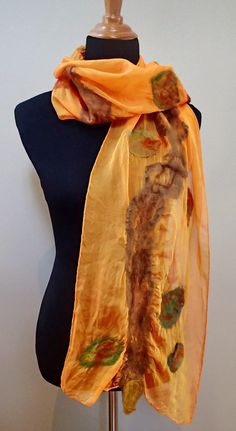 Nuno felted silk scarf by GingerGirlAdorned on Etsy