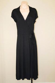 Go Fish Black Minimalist Long A-Line Full Sweeping Skirt Wrap Jersey Dress sz L #GoFish #WrapDress