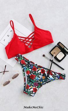 Floral Print Crisscross Bikini Set