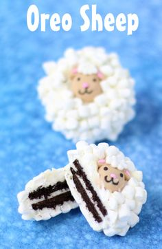 Dip Oreo Cookies in white chocolate then toss on lots of tiny marshmallows and a…