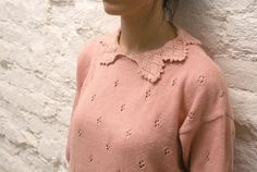 Vintage 70's pink lace collar sweater for women