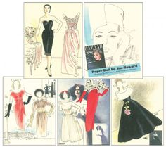 1956 Harper's Bazaar by Jim Howard [High fashions of the : Paper Dolls of Classic Stars, Vintage Fashion and Nostalgic Characters, for Kids and Collectors Barbie Fashion Sketches, Jacques Heim, Harpers Bazaar, Paper Dolls, High Fashion, 1950s, Saint Laurent, Vintage Fashion, Christian