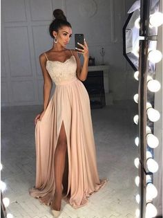 A-Line Spaghetti Straps Sweep Train Pink Satin Prom Dress with Appliques Split G345