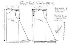 Esquema de modelagem do vestido trapézio infantil tamanho 8.
