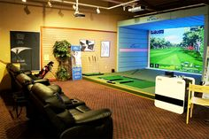 An indoor golf simulator would make a great addition to your clubhouse or country club. X-GOLF is the world's leader in indoor golf simulator technology. Play virtual golf courses from around the world using the cutting-edge in sensor and simulation Indoor Golf Simulator, Golf Room, Trendy Golf, Golf Simulators, Golf Party, New Golf, Golf Training, Golf Lessons, Golf Fashion