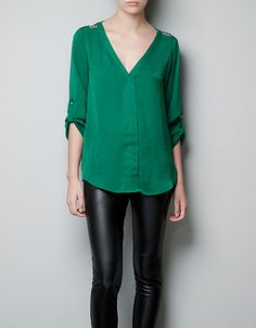 BLOUSE WITH STUDDED SHOULDERS - Shirts - Woman - ZARA Canada
