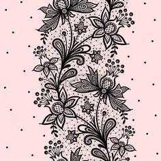 Illustration of Lace background vector illustration on a pink background. vector art, clipart and stock vectors. Fleurs Art Nouveau, Black Lace Tattoo, Lace Drawing, Lace Background, Lace Painting, Lace Art, Paper Lace, Henna Tattoo Designs, Illustration
