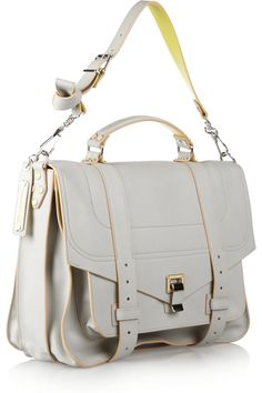 Proenza SchoulerPS1 Large leather satchel in pale grey and chartreuse