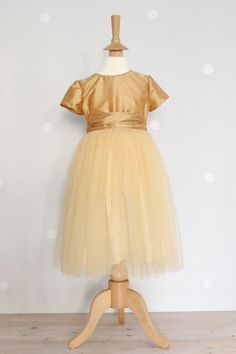 Gold Silk Dupion and tulle waisted dress
