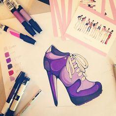 Multi-tasking with my freelance work and thank you notes! #fashionillustration #fashion #purple #shoe #design #heel #sketch #sneakers #illustration  (at Kelseys Desk )