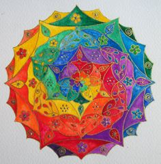 Rainbow Spiral Mandala 2012 by CindysNaturaleMagick on Etsy,