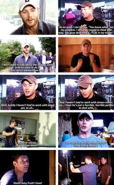 "[gifset] Jensen Ackles: A Director's Journey. The bottom left gif... ""Ohh Juicy Fruit! I love! ""  I love it <3  #SPN #Jensen"