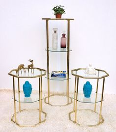 Vintage Side Tables Gold Glass Octagon Mid Century Decor Plant Stands