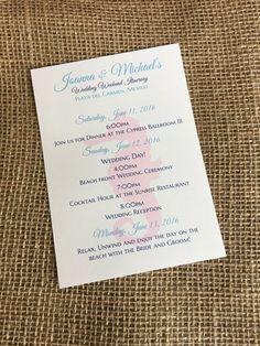 Destination Wedding Itinerary Beach Welcome Letter Da Turks