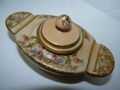 Antique Marked European Porcelain Inkwell, w/Well & Lid, Floral & Gold Ornamentn