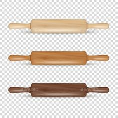 #Vector Realistic 3D Wooden Rolling Pin #Icon Set - Man-made Objects Objects
