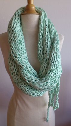Light green round scarf with bow knit in tshirt by PuceKnitting, €35.00