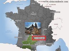 Mapa de situación de Conques (Aveyron, Francia)