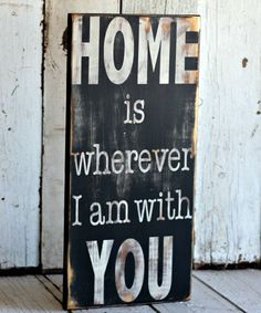 Hand Painted and Distressed Sign - 9 1/4 x 24 - Black and White - Home Decor. $45.00, via Etsy.