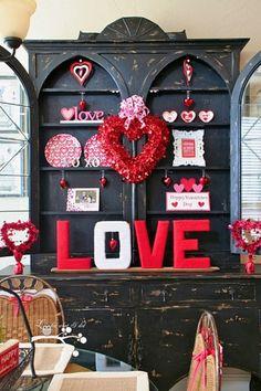 valentine decor for hutch