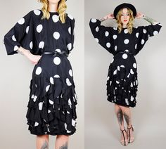 OLEG CASSINI 80's SILK Polka Dot Batwing Tiered by NOIROHIOVINTAGE, $128.00
