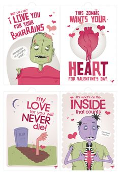 zombie valentine cards - thinking of printing them out for the boys this year