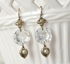 Chandelier Crystal and Heart Charm Earrings by MySalvagedTreasures