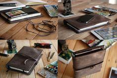 Large Moleskine leather cover. Ipad Mini by JustWanderlustShop