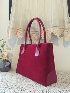 Red nubuck satchel, Red nubuck leather, Leather satchel tote, Elegant design, Soft leather tote bag, Red tote bag, Women purse, Tasche, Sac