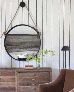 Industriële ronde spiegel met stoer touw - Ø35,5cm